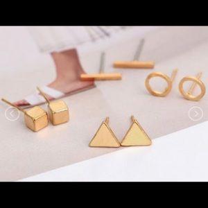 Gold Geometric Earring Set (4 pairs)